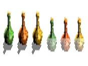 Green, Yellow and Orange Potion Bonuses (left: land versions, right: water versions)